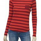 Arizona Juniors 1X Shirt Red Stripe Long Sleeve Pocket Tee with Button-down Back