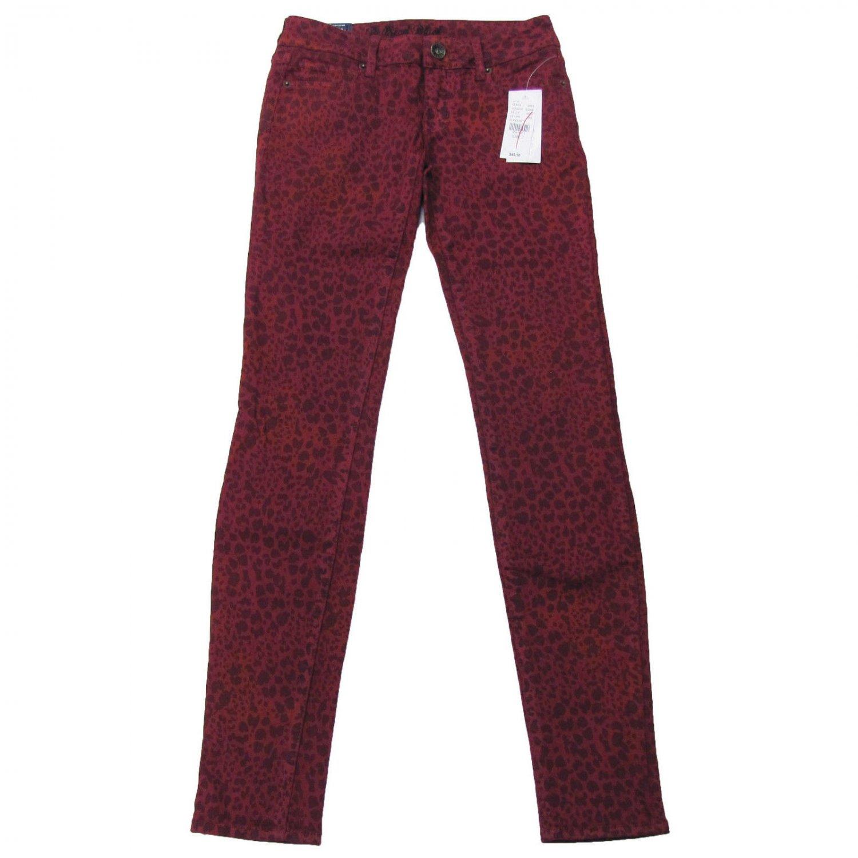 Bullhead Black size 7 Skinniest Skinny Jeans Juniors Dark Red Leopard Print New