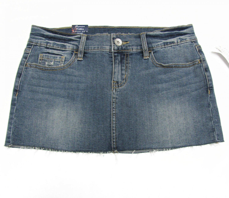 Bullhead Black size 7 Jean Mini Skirt Blue Cut-off Frayed Denim Juniors New