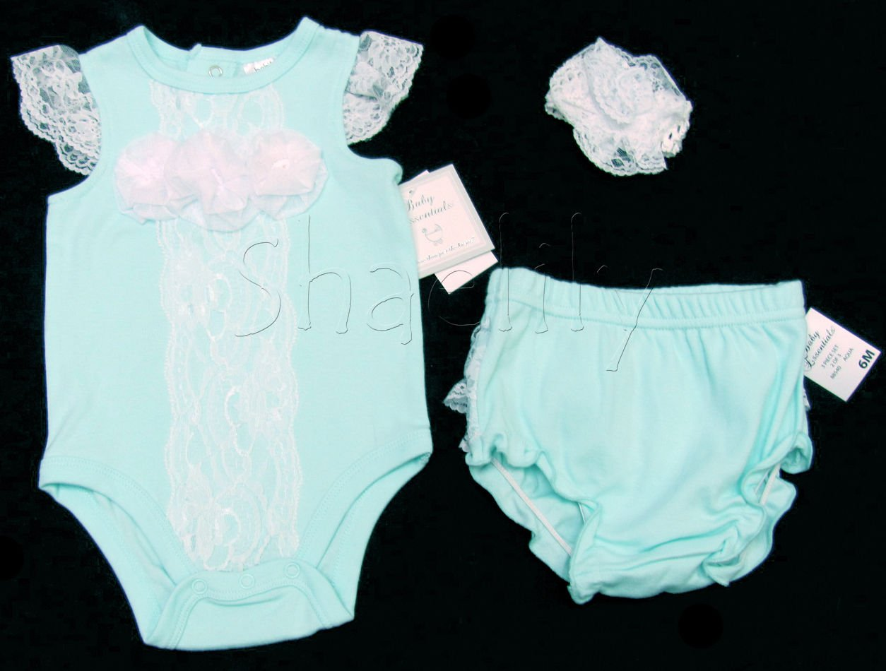 Baby Essentials Girls 3-Piece Set Blue Bodysuit Diaper Cover Lace Headband 9 Mos