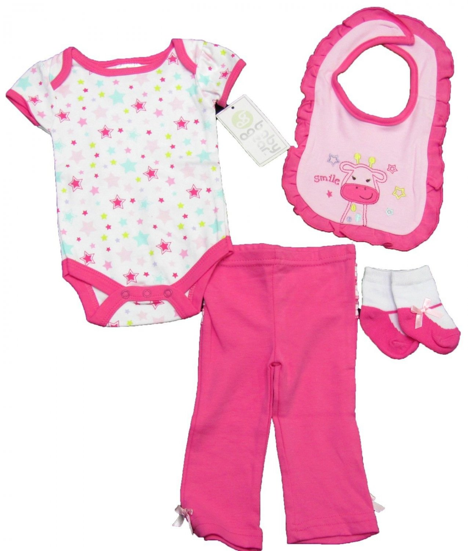 Baby Gear Girls 4-Piece Set White Pink Star Bodysuit Pants Bib Socks 0-3 Mos