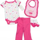 Baby Gear Girls 4-Piece Set White Pink Star Bodysuit Pants Bib Socks 0-3 Mos