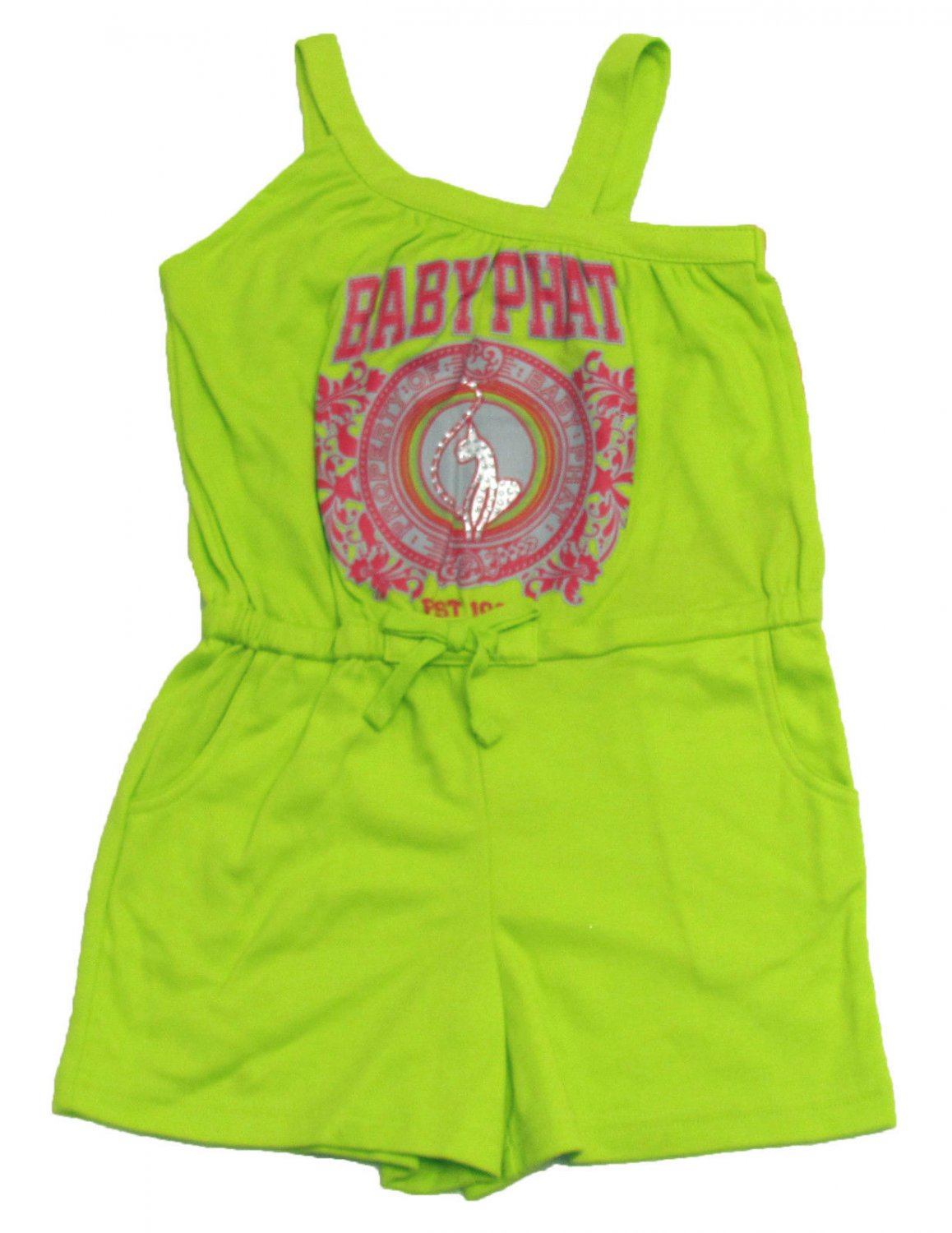 Baby Phat Girls 5-6 Romper Lime Green Tank Top One-piece Shorts Suit Kids