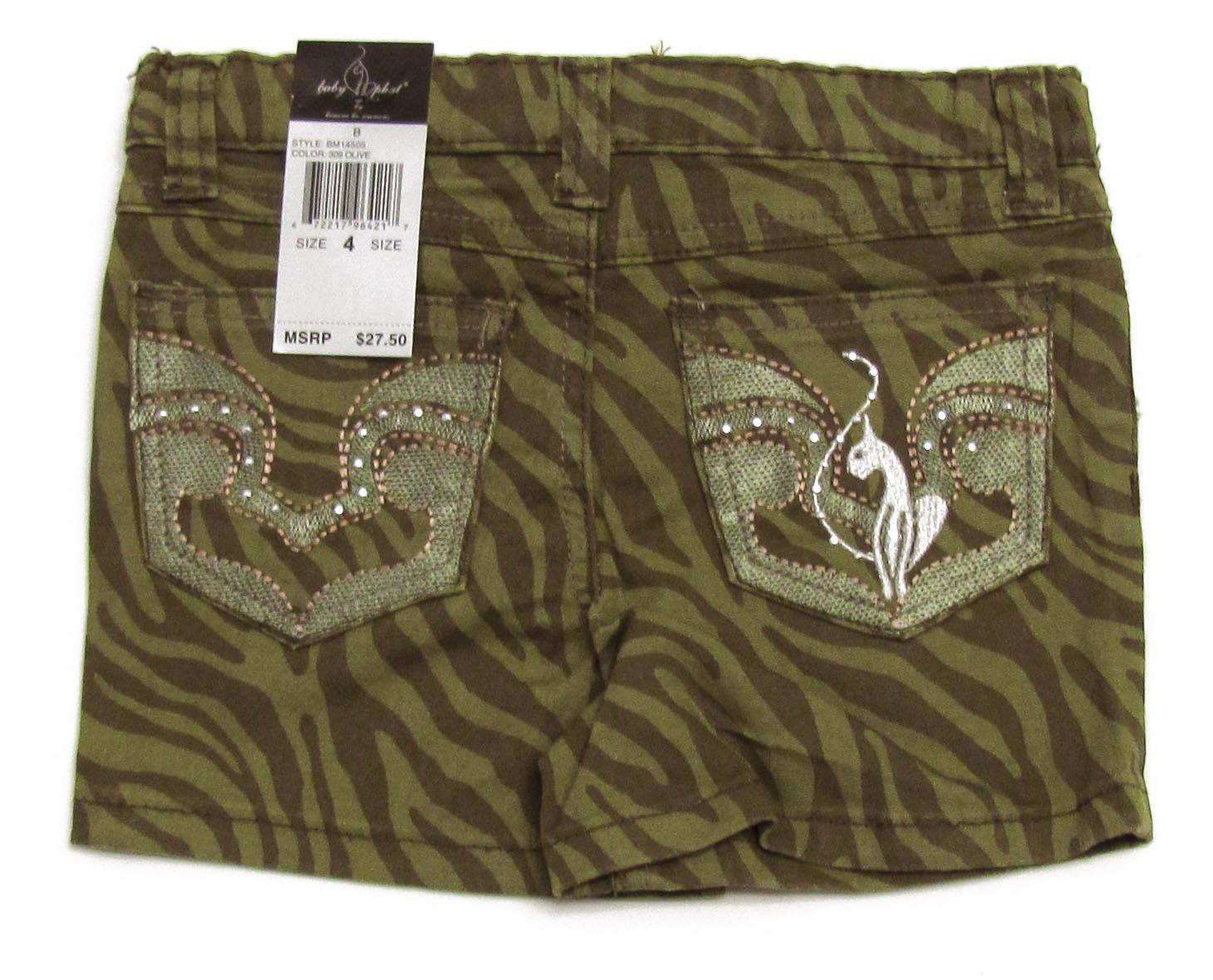 Baby Phat Girls size 4 Shorts Olive Green Zebra Print Short Kids New