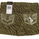 Baby Phat Girls size 4 Shorts Olive Green Zebra Print Short Kids New