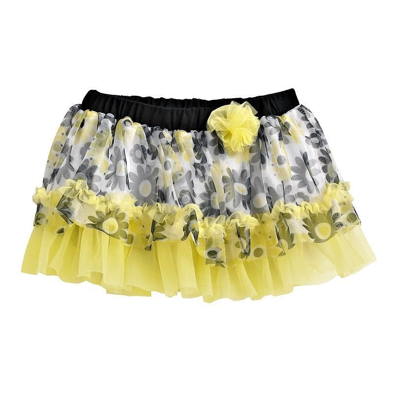 Baby Starters Girls 9 Mos Tutu Skirt Yellow and Black Daisy Floral