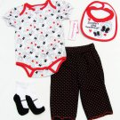 Babyworks Girls 4-Piece Set Bodysuit Pants Bib Socks Red White Black 12 Mos