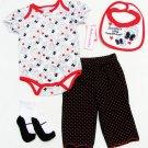 Babyworks Girls 4-Piece Set Bodysuit Pants Bib Socks Red White Black 12 Mos