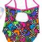 Breaking Waves Girls size 4 Swimsuit One-piece Rainbow Heart Checker Print