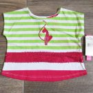 Baby Phat Girls 12 Mos T-shirt Green Stripe Shirt with Pink Sequins