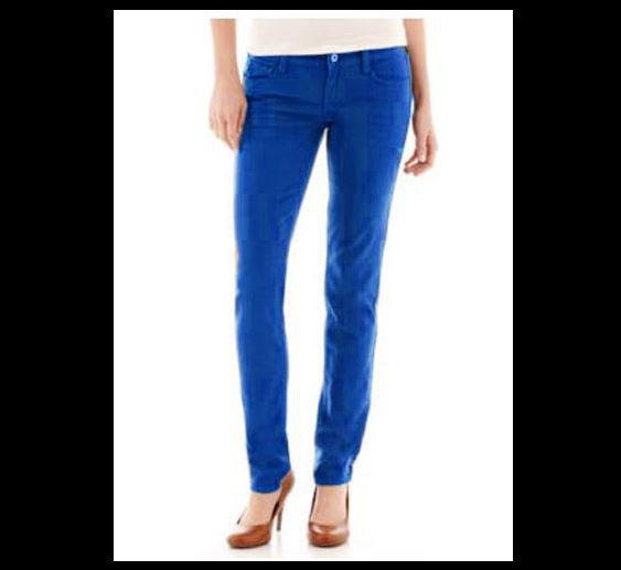 Arizona Juniors size 0 Super Skinny Jeans Skydiver Blue Colored Denim