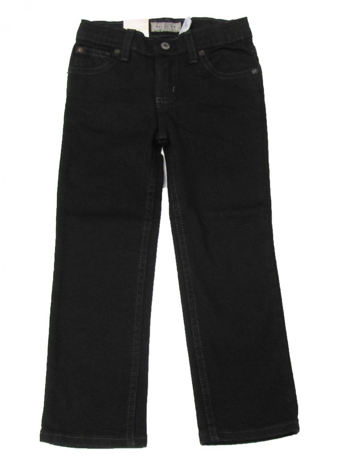 Arizona Girls 4 Slim Straight Leg Jeans with Adjustable Waist Black Denim Kids
