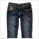 Arizona Girls 6X Straight Leg Jeans with Braided Belt Dark Blue Youth New
