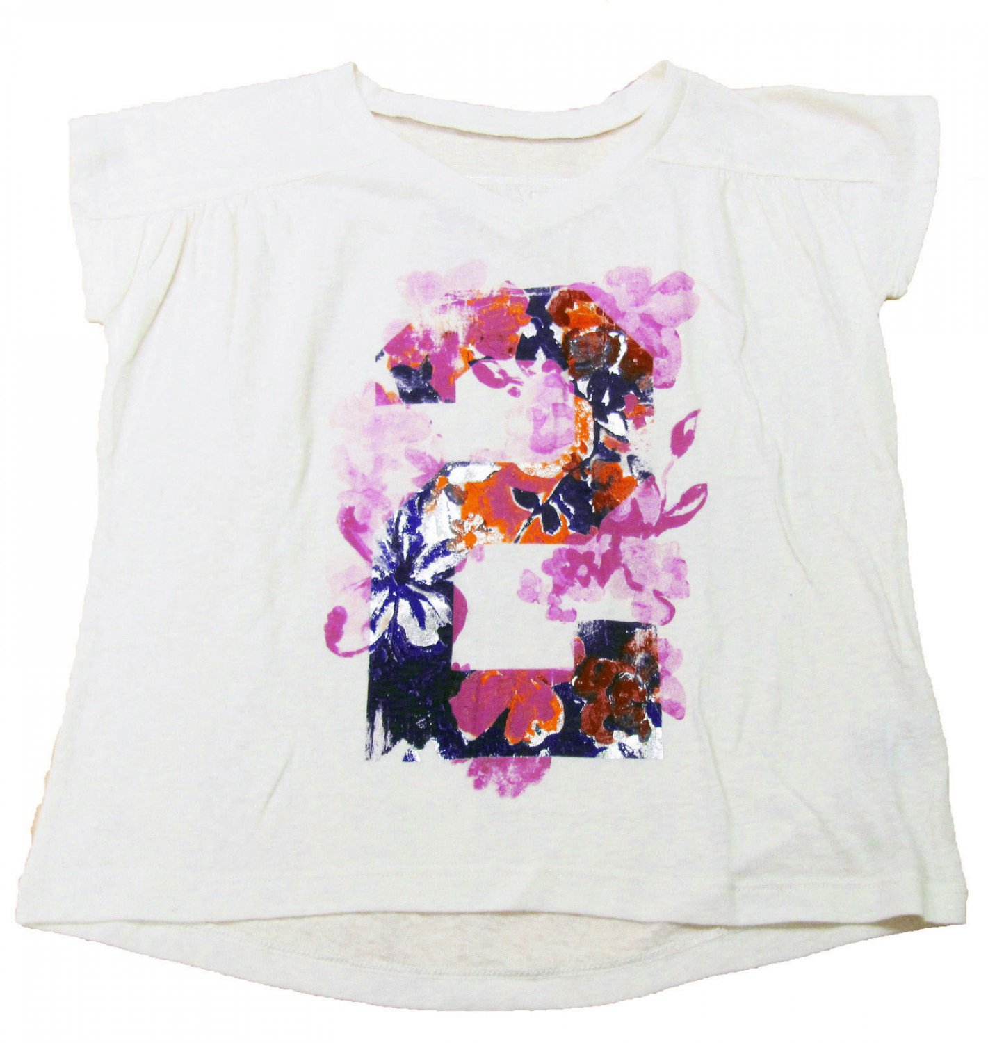 Arizona Girls 10-12 V-neck T-shirt Ivory Shirt with Purple Floral Graphic Youth Large L