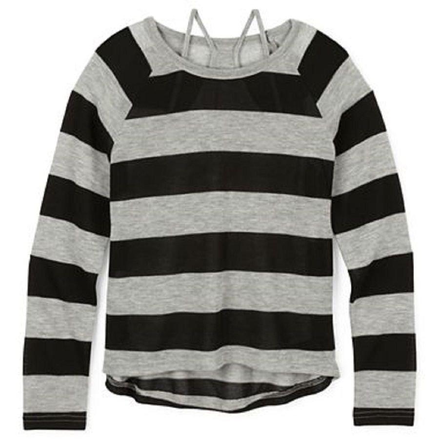 Arizona Girls 6-6X Sweater Thin Gray Black Stripe Layered Long Sleeve Kids S New