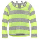 Arizona Girls 4-5 Sweater Thin Gray Neon Yellow Stripe Layered Long Sleeve Kids S New