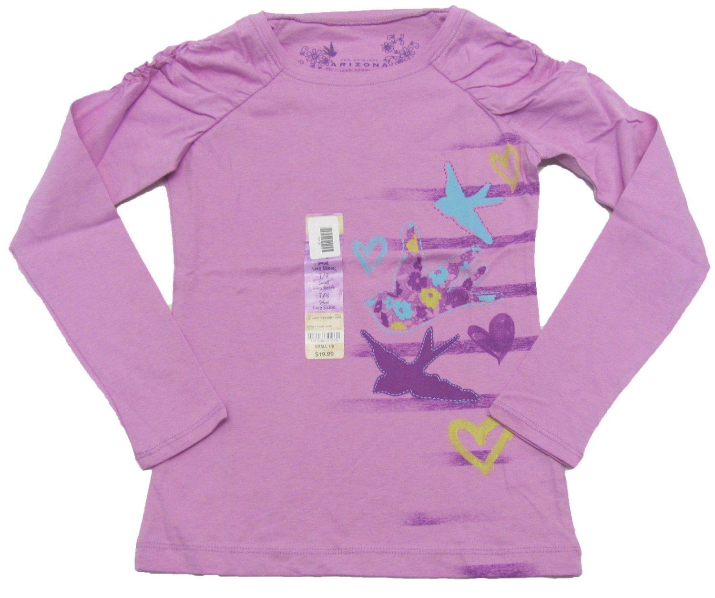 Arizona Girls 10-12 Shirt Long Sleeve Lilac Purple Peace and Love Tee Shirt Youth M Medium