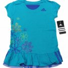 adidas Girls size 4 Shirt Blue Ruffle Bottom Sport Top with Glitter Flowers