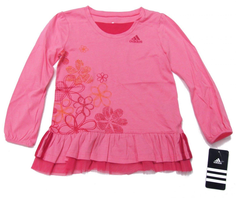 adidas Girls size 4 Shirt Pink Ruffle Bottom Sport Top with Glitter Flowers Long Sleeve