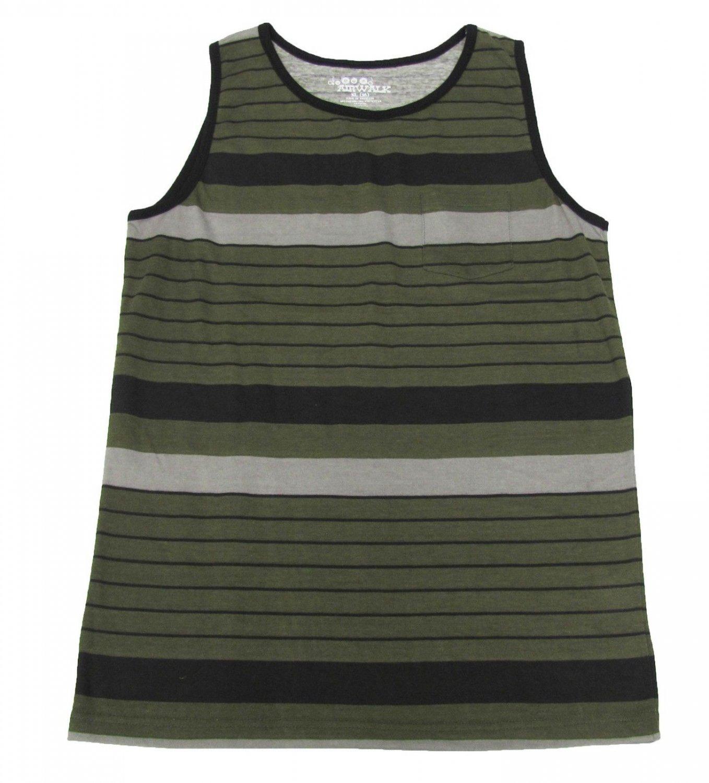 Airwalk Boys 10-12 Tank Top Olive Green Stripe Pocket Sleeveless Shirt Youth Medium M