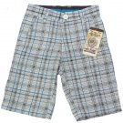 American Hawk Boys size 4 Shorts Gray Blue White Plaid Kids