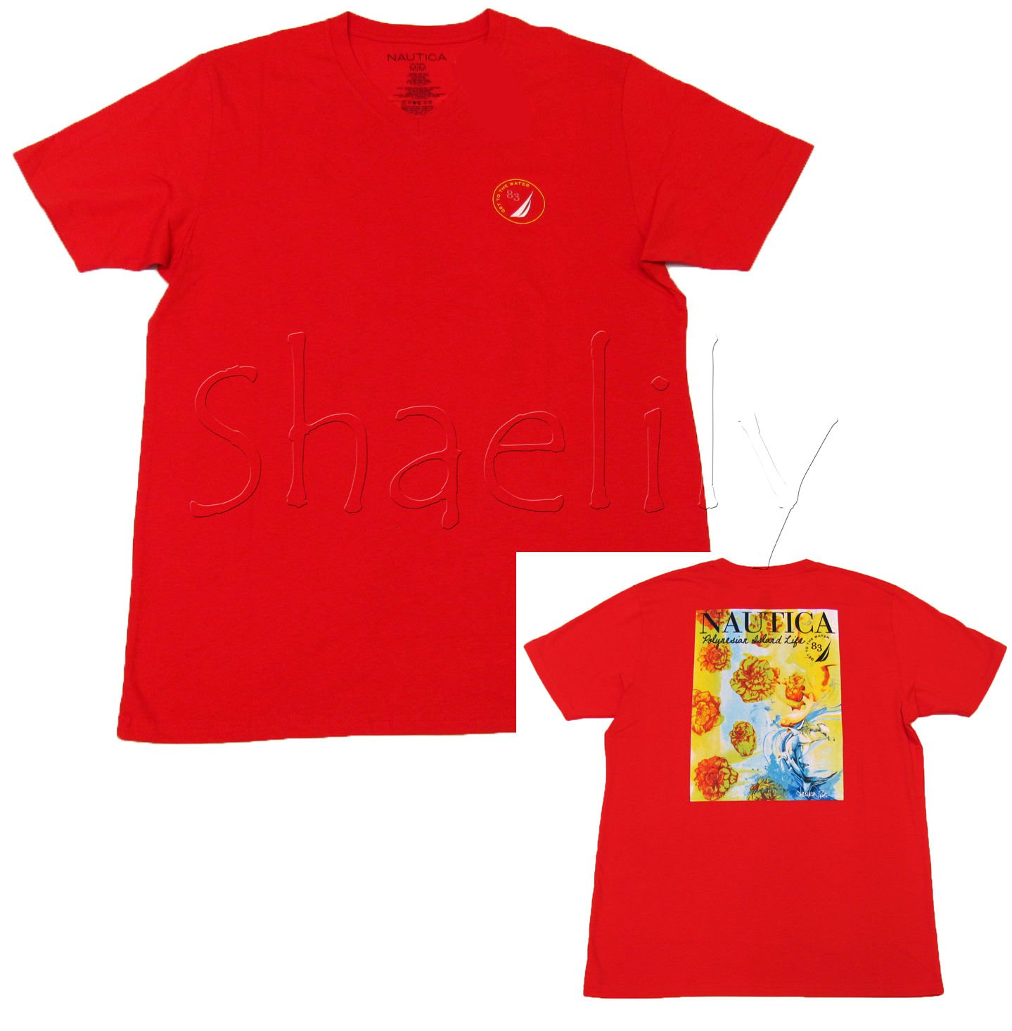 Nautica Mens M Red V-neck Tee Shirt Polynesian Island Life Short Sleeve T-shirt