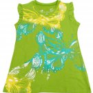 Arizona Girls 10-12 Tank Top Sleeveless V-Neck Butterfly Shirt Green Youth Medium M