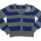 Arizona Girls 7-8 Cardigan Blue Gray Stripe Long Sleeve Button-down V-neck