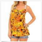 Available M Racerback Tank Top Juniors Orange Floral Chiffon Shirt with Lace Back