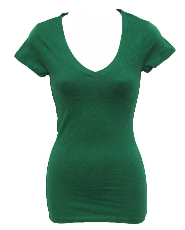 Athletic Basix S V-neck Tee Shirt Dark Green Basic T-shirt with Cap Sleeves Juniors Small