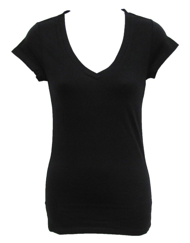 Athletic Basix S V-neck Tee Shirt Black Basic T-shirt with Cap Sleeves Juniors Small