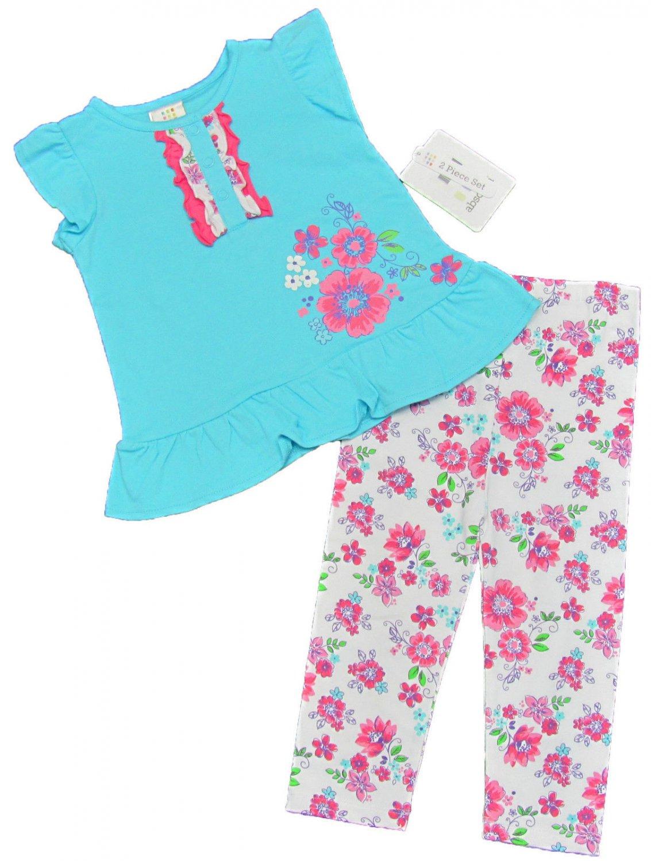 Absorba 2-Piece Set Blue Tank Top Shirt White Pink Floral Leggings Baby Girls 18 Mos