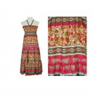Annabelle Boho Dress M Smocked Crinkle Long Maxi Paisley Floral Pink Taupe