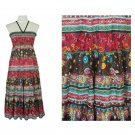 Annabelle Boho Dress S Smocked Crinkle Long Maxi Floral Pink Brown