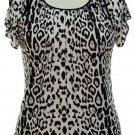 jon and anna 1X White Cold Shoulder Top Leopard Print Blouse Peek-a-Boo Shirt Womens Plus 717