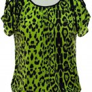 jon and anna M Green Cold Shoulder Top Leopard Print Blouse Peek-a-Boo Shirt Womens 717