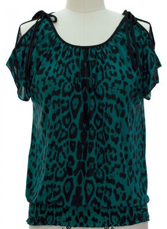 jon and anna M Blue Cold Shoulder Top Leopard Print Blouse Peek-a-Boo Shirt Womens 717