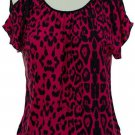 jon and anna M Pink Cold Shoulder Top Leopard Print Blouse Peek-a-Boo Shirt Womens 717