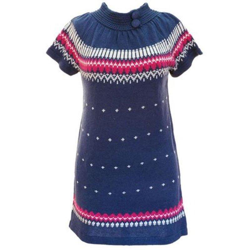 jon & anna L Blue Sweater Dress Knit with Buttons Winter Juniors Large New B602