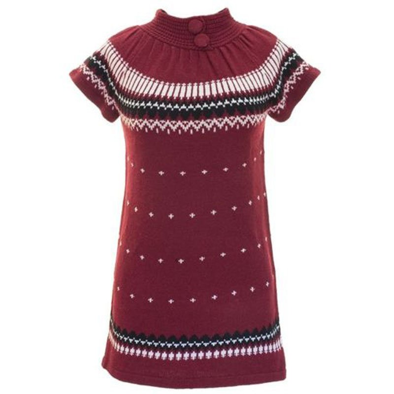 jon & anna L Sweater Dress Burgundy Red Knit with Buttons Winter Juniors Large New B602