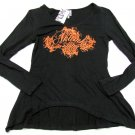 AKDMKS Womens M Black Orange V-neck Shirt Sharkbite Top