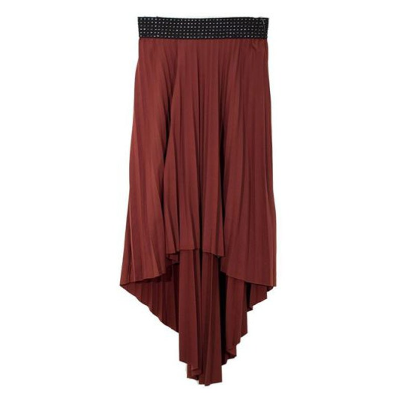 jon & anna L Brown High-Low Skirt Pleated Knit with Black Waist Juniors New K010