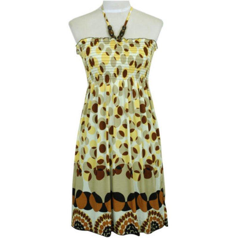 jon & anna Short Maxi Dress S Beige Brown Yellow Polka Dot Smocked New 7021