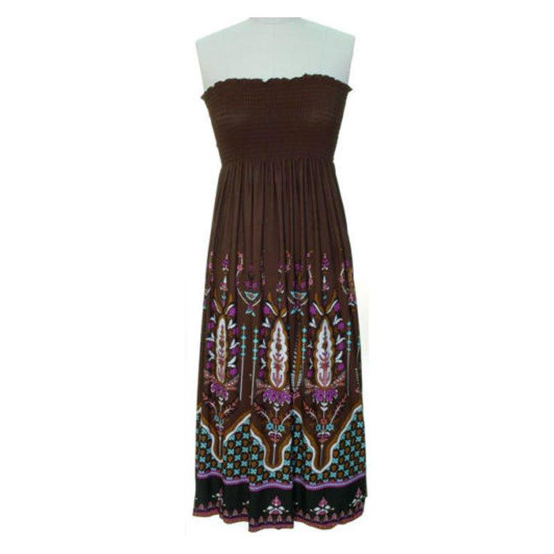 jon & anna M Strapless Maxi Dress Womens Dark Brown Purple Aztec Smocked Stretch 7042