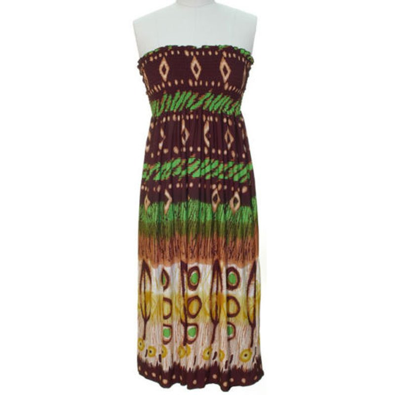 jon & anna S Strapless Maxi Dress Womens Brown Green Tribal Smocked Stretch 7042