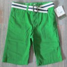 Eddie Bauer Boys size 12 Shorts with Belt Clover Green Trouser Chino Short New