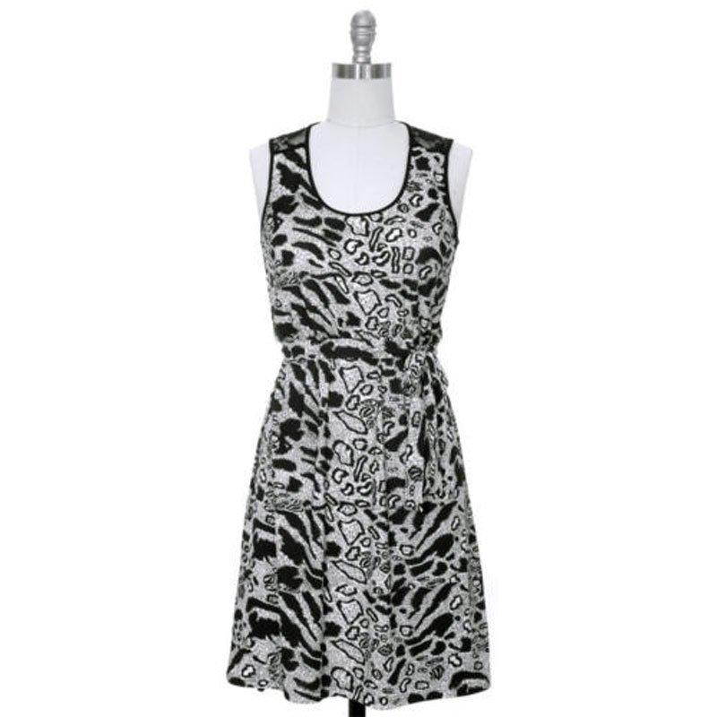 jon and anna L Leopard Print Dress with Black Lace Back Sleeveless Womens 7079