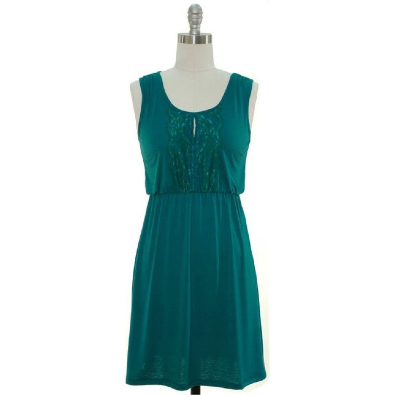 jon & anna L Blouson Dress Teal Blue Jersey Knit Lace Placket Sleeveless Womens 7090 New