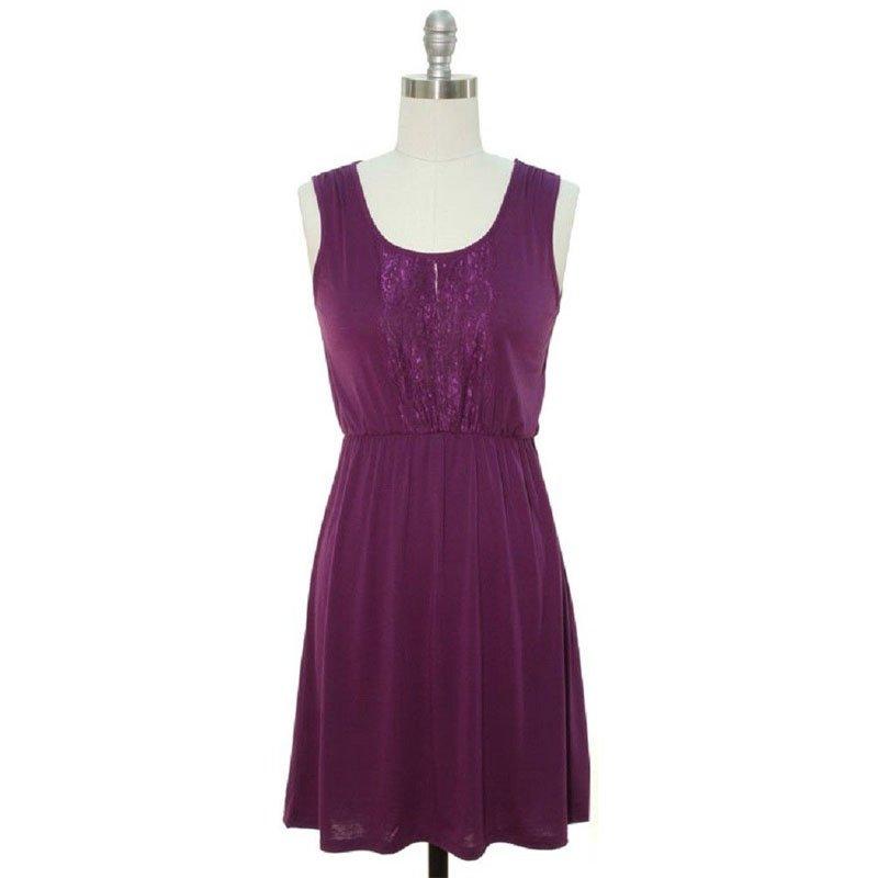 jon & anna S Blouson Dress Purple Jersey Knit Lace Placket Sleeveless Womens 7090 New