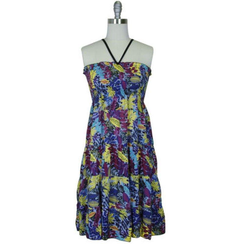 jon & anna L Knee-Length Maxi Dress Blue Leaf Floral Smocked Halter Juniors Summer 7065